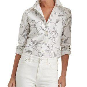 Lauren Ralph Lauren Equestrian Print Button Down Shirt Cotton Black White Horse